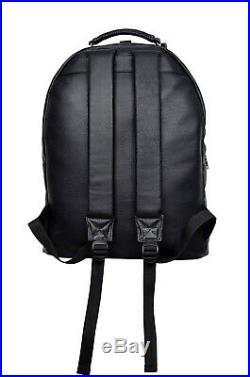 Men Women Leather Backpack Black Laptop Bag Bikers Bag Rucksack School Bag 1005