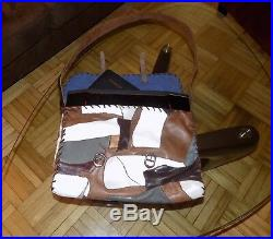 Men & Women Leather-Laptop-Bag in brown, gray and white unique, handmade