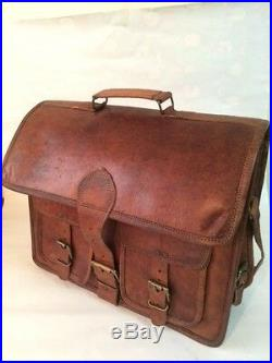 Men Women Real Vintage Leather Tote Messenger Shoulder Laptop Bag Briefcase