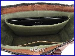 Men Women Vintage Leather Tote Satchel Briefcase Laptop Messenger Shoulder Bag