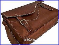Men's Genuine Vintage Leather Messenger Laptop Briefcase Satchel Women Bag Brown
