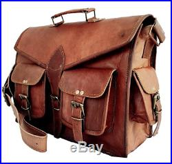 Men's Leather Messenger Laptop Bag Shoulder Bag S Women Satchel Handmade Bags SJ
