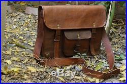 Men's Women 100% Genuine Real Leather Messenger Bag Crossbody Laptop Briefcase