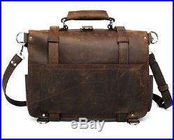 Men's Women's Thicken Saddle Leather Briefcase Messenger Backpack 17 Laptop Bag