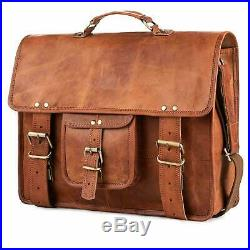 Men's Women's leather messenger Real satchel bag genuine laptop brown briefcase