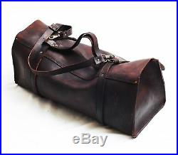 Men women Dark Brown rugged Genuine Leather bag sling Briefcase laptop satchel