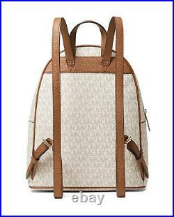 Michael Kors Abbey Medium Logo Signature Backpack Laptop Book Bag Vanilla NWT