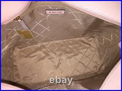Michael Kors Gilly Large Drawstring Zip Shoulder Tote Bag Laptop Pink Leather