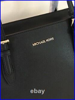 Michael Kors Gilly Large Drawstring Zip Tote Bag Laptop Mk Black Leather Gold