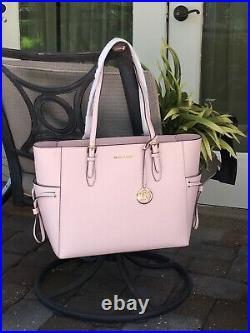 Michael Kors Gilly Large Drawstring Zip Tote Bag Laptop Mk Pink Blush Leather
