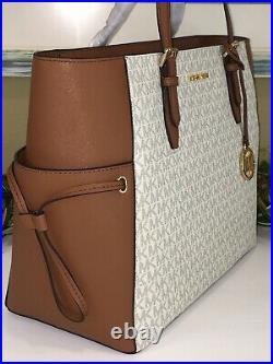 Michael Kors Gilly Large Drawstring Zip Tote Bag Laptop Mk Signature Vanilla