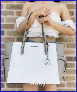 Michael Kors Gilly Travel Large Drawstring Tote Laptop Bag Bright White MK Grey