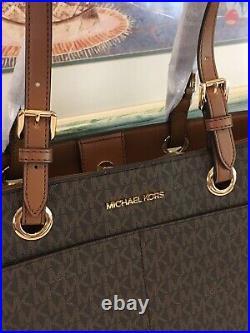 Michael Kors Jet Set Large Multifunctional Tote Bag Brown Signature Laptop