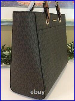 Michael Kors Jet Set Large Multifunctional Tote Bag Mk Brown Signature Laptop