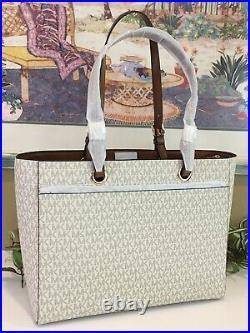 Michael Kors Jet Set Large Multifunctional Tote Bag Vanilla Signature Laptop