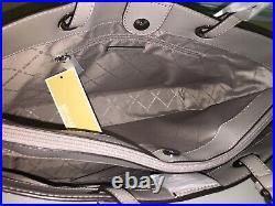 Michael Kors Jet Set Large Multifunctional Tote Bag White Signature Grey Laptop
