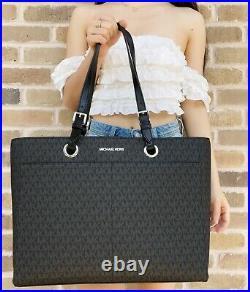 Michael Kors Jet Set Travel Large Commuter Tote Black MK Signature Laptop Bag