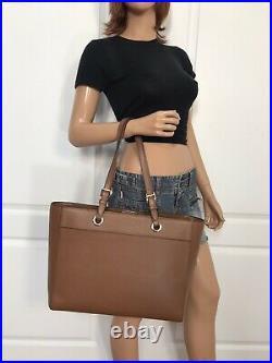 Michael Kors Jet Set Travel Large Commuter Tote Brown Luggage Leather Laptop Bag