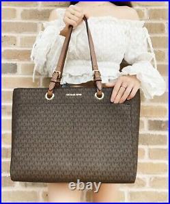 Michael Kors Jet Set Travel Large Commuter Tote Brown MK Signature Laptop Bag