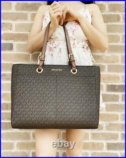 Michael Kors Large Commuter Tote Brown MK Signature Laptop Bag + Wristlet