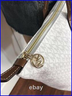 Michael Kors Large Logo Stripe XL Travel Tote Laptop School Baby Bag White MK