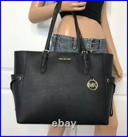 Michael Kors Large Tote Black Leather Laptop Bag Handbag Purse Shoulder
