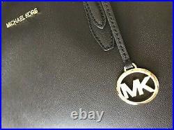 Michael Kors Large Tote Black MK Leather Laptop Bag Handbag Purse Shoulder
