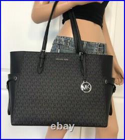 Michael Kors Large Tote Black MK Signature Laptop Bag Handbag Purse Shoulder