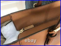 Michael Kors Large Tote Brown MK Signature Laptop Bag Handbag Purse Shoulder
