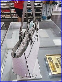 Michael Kors MK Jet Set Travel Large Commuter Tote Laptop Bag Bright White Grey