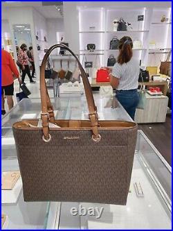 Michael Kors MK Jet Set Travel Large Commuter Tote Signature Laptop Bag Brown