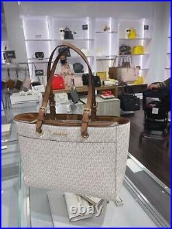 Michael Kors MK Jet Set Travel Large Commuter Tote Signature Laptop Bag Vanilla