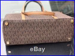 Michael Kors PVC Sady Brown Large Weekender Travel Tote Bag Laptop pocket $438