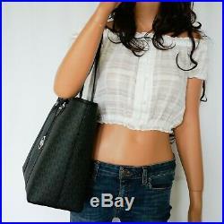 Michael Kors Sady L Pvc Leather Multifunction Laptop Tz Tote Bag Mk Black/silver