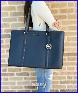Michael Kors Sady Large Multifunction Zip Leather Handbag Tote Laptop Bag Navy