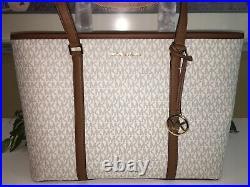 Michael Kors Sady Large Multifunctional Tote Bag Vanilla Signature Laptop Sleeve