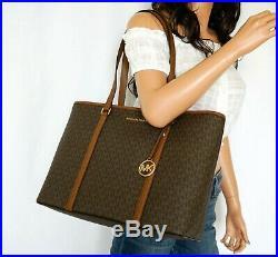 Michael Kors Sady Lg Multifunction Top Zip Pvc Leather Laptop Tote Bag Mk Brown