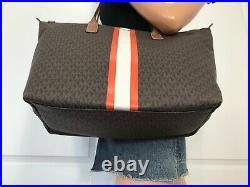 Michael Kors Travel XL Large Center Stripe Top Zip Tote MK Brown Laptop Baby Bag