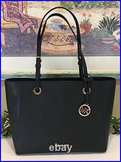 Michael Kors Walsh Medium Multifunctional Tote Bag Black Leather Laptop Sleeve