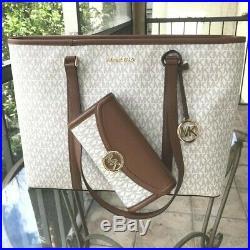 Michael Kors Women Large PVC Leather Tote Bag Purse Handbag Laptop+Clutch Wallet