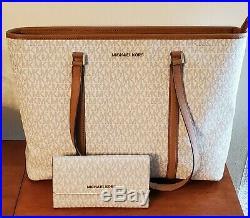 Michael Kors Womens Large Shoulder Tote Purse Handbag Bag + Wallet (pictured)