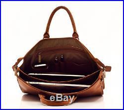 Muiska Leather Monica Double Top Zipper Slim Laptop Business Tote Bag