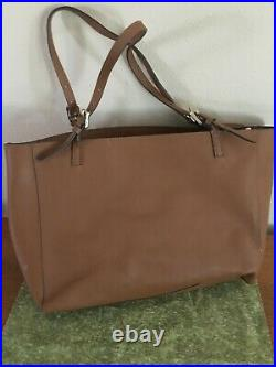 NEW Authentic TORY BURCH Emerson Buckle Tote/Laptop Leather Bag/Brown