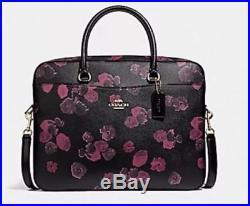 NEW COACH women floral business work briefcase laptop bag crossbody black