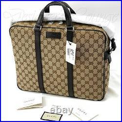 NEW GUCCI GG Guccissima Canvas Leather Monogram Briefcase Laptop Tote Bag Authen