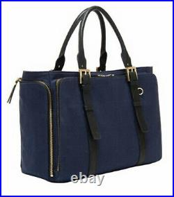 NEW India Hicks Duchess of Windsor Bag Navy Laptop tote