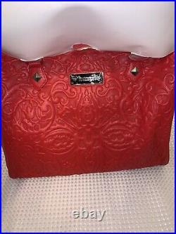 NEW Loungefly Red Lattice Skull Bag Faux Pebble Vegan Leather Handbag laptop