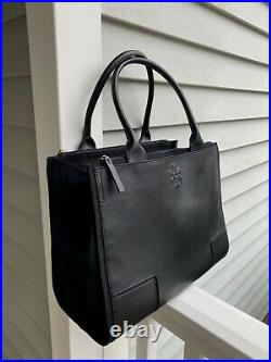 NEW Tory Burch Large Ella Laptop Luggage Black Canvas & Leather Laptop Tote bag