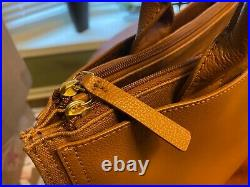 NEW Tory Burch Large Ella Laptop Luggage Brown Canvas & Leather Laptop Tote bag