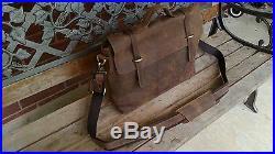 NEW men's Women's leather messenger bag Briefcase Satchel aktetas Tablet Laptop